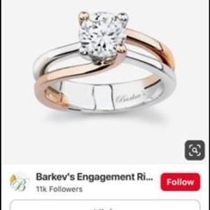 Barkevs Solitaire Diamond Two Tone Ring
